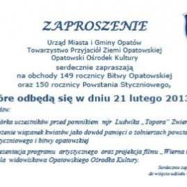 Zaproszenie na obchody  149 Bitwy Opatowskiej oraz 150 rocznicy powstania styczniowego